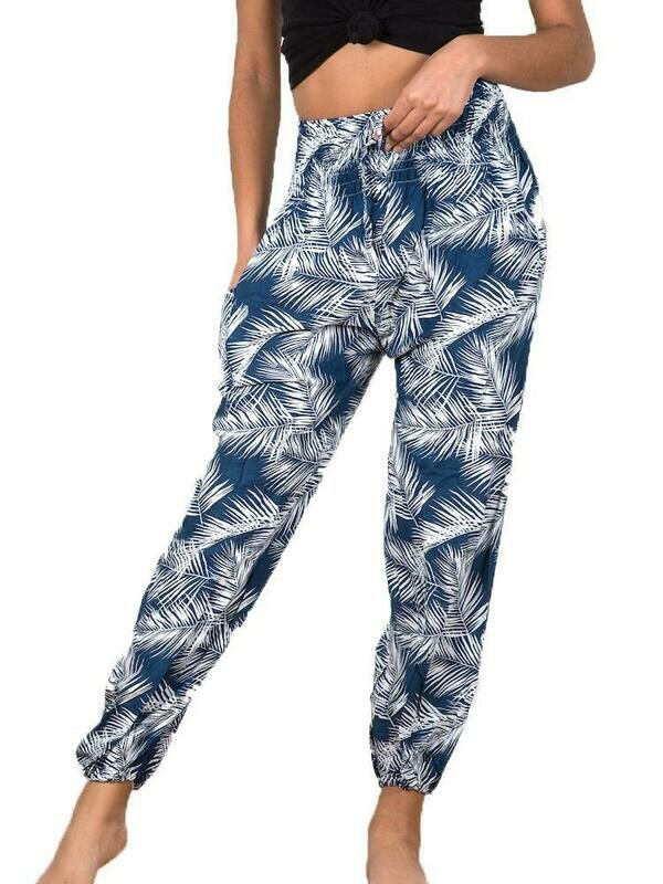 Blue & White Palm Leaf Print Bali Pants