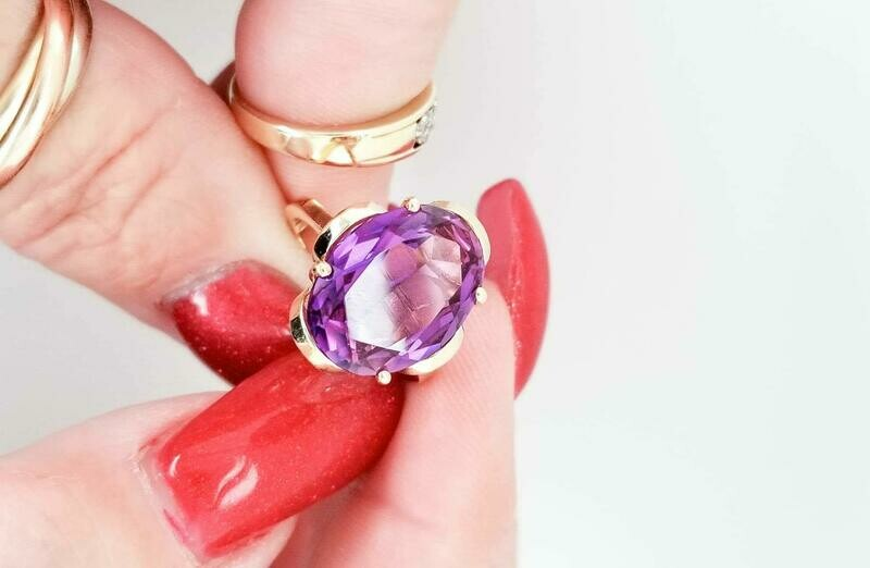 Vintage Large Oval Amethyst Ring