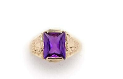 Vintage Man's Amethyst Ring 10kt Gold