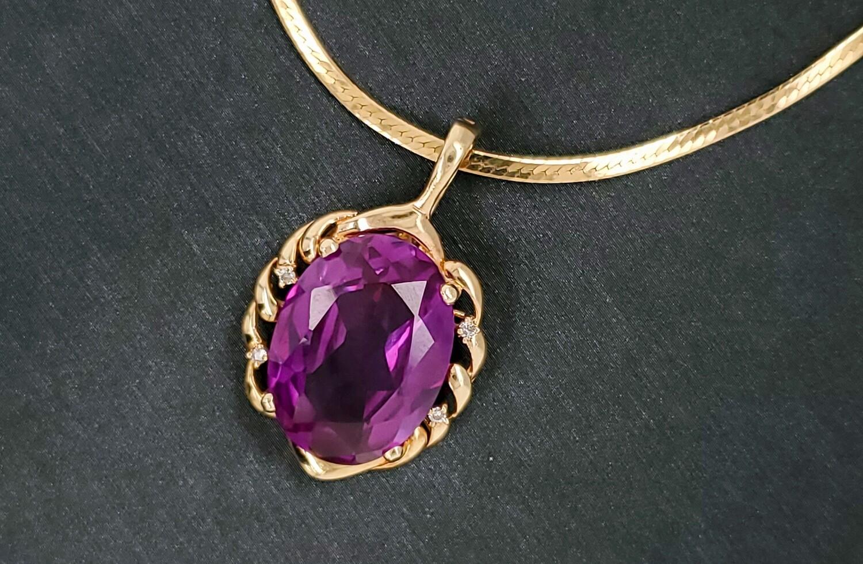 800-100-201203 Amethyst gold pendant