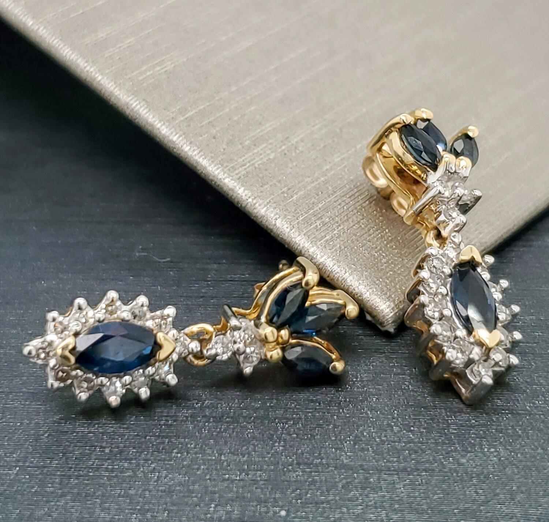 Sapphire Drop Earrings 14k 880-2103E01
