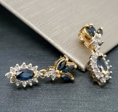 Sapphire Drop Earrings 14k 880-2103E01
