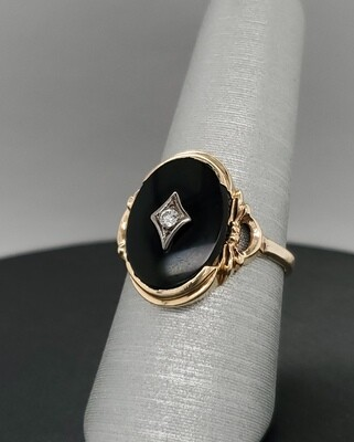 Onyx Oval Ring 880-2103R33 Sz 7.5