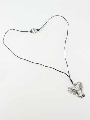 Rope Necklace W/ Elephant Head Pendant