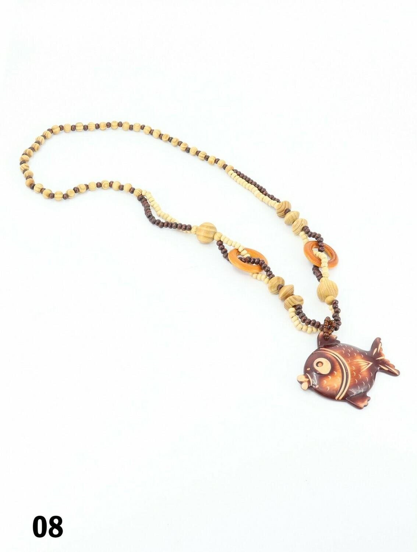 Wood Beads Necklace W/ Fashion Pendant