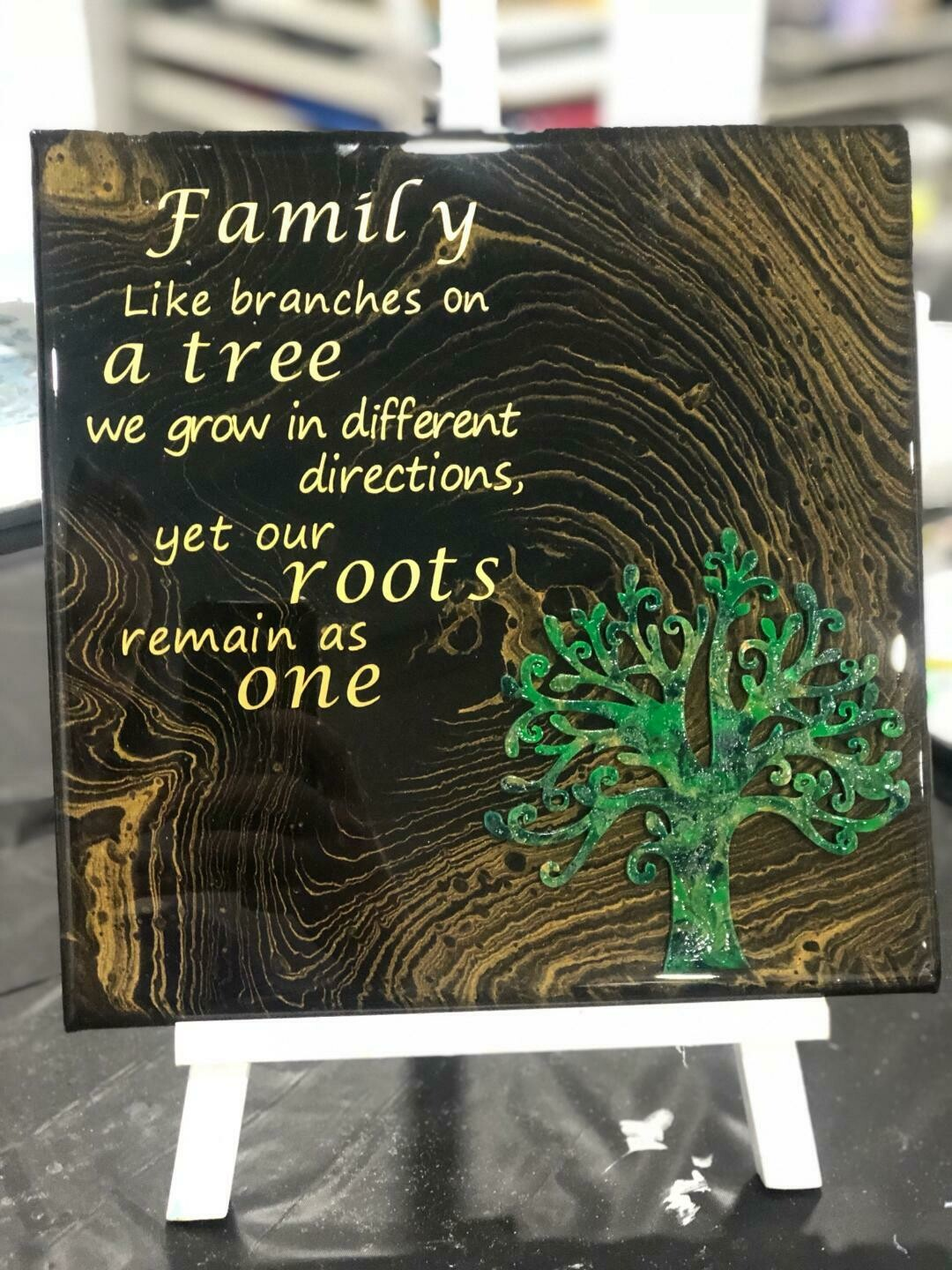 Family Tree Resin and Words