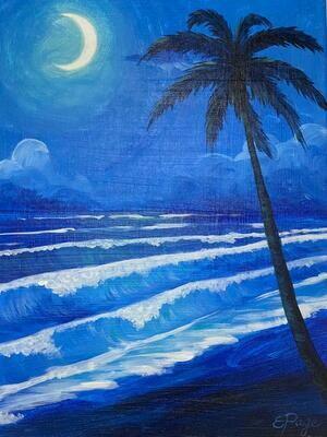 Kit de Pintura: Anoche en la Playa (Canvas Mediano 12x16)