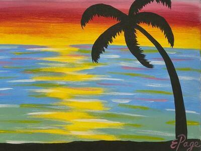 Kit de Pintura: Atardecer en la Playa (Canvas Mediano 12x16)