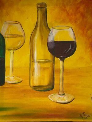 Kit de Pintura: Vino Tinto (Canvas Mediano 12x16)