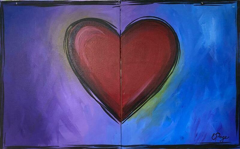 Kit de Pintura Doble: Corazón Corazón (Canvas Grande 16x20)