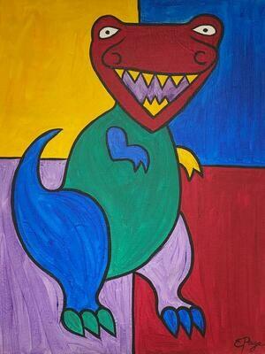 Kit de Pintura: Dino (Canvas Mediano 12x16)