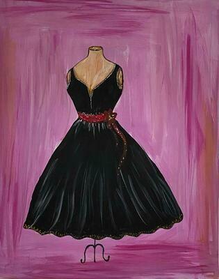 Kit de Pintura: Little Black Dress (Canvas Mediano 12x16)