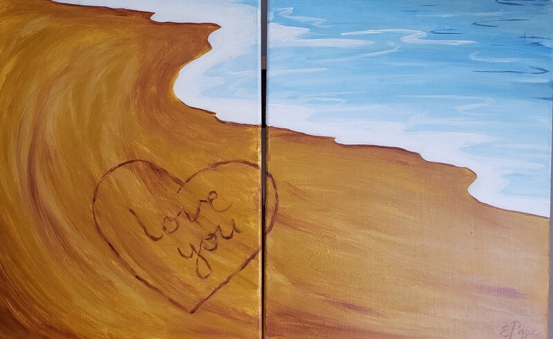 Kit de Pintura Doble: Love at the Beach (Canvas Grande 16x20)