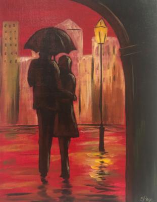Kit de Pintura: Lovers in the Rain (Canvas Mediano 12x16)