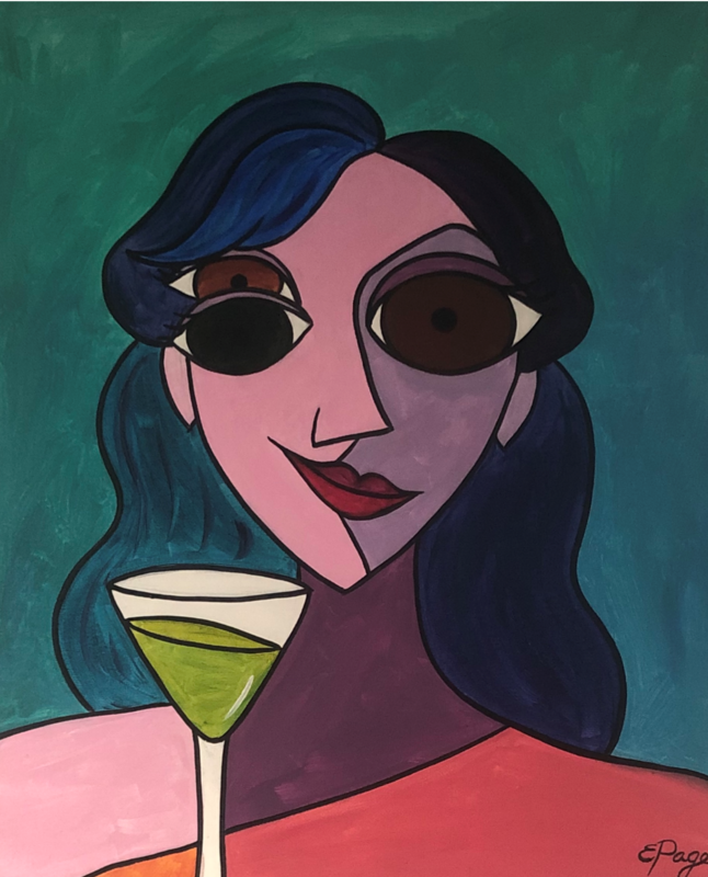 Kit de Pintura: Martini Girl (Canvas Grande 16x20)