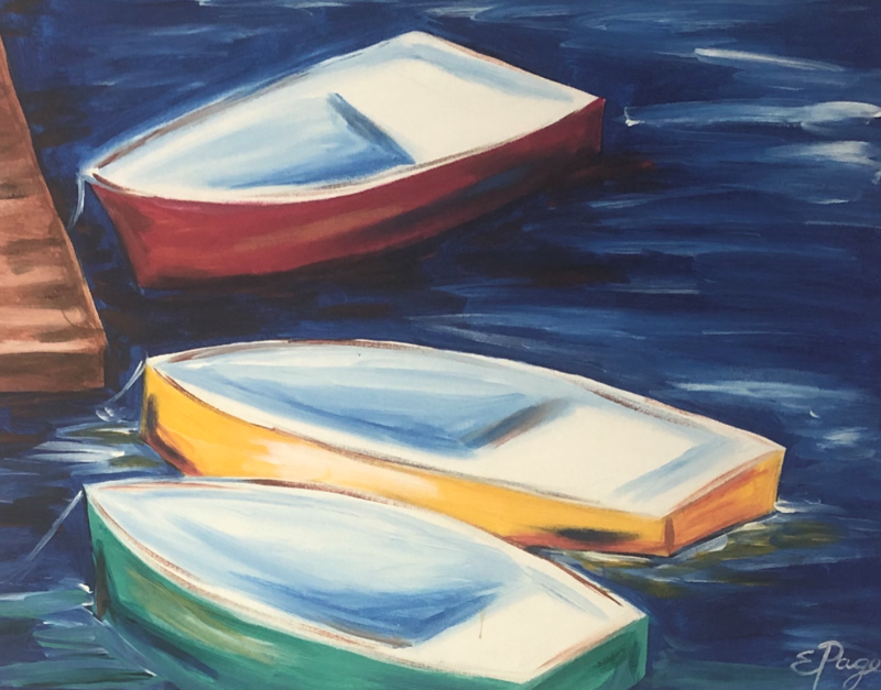 Kit de Pintura: Boats on the Dock (Canvas Grande 16x20)