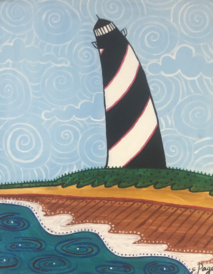 Kit de Pintura: Curvy Light House (Canvas Mediano 12x16)