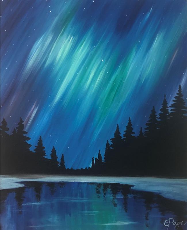 Kit de Pintura: Aurora Boreales (Canvas Grande 16x20)