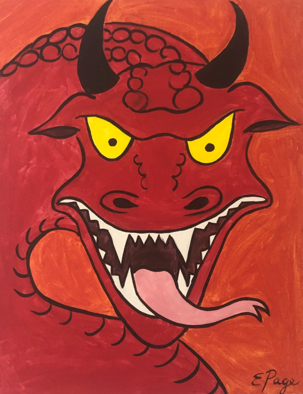 Kit de Pintura: Red Dragon (Canvas Grande 16x20)