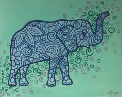 Kit de Pintura: Flower Elephant (Canvas Mediano 12x16)