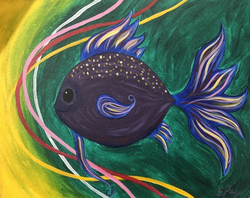 Kit de Pintura: Miles the Fish (Canvas Grande 16x20)