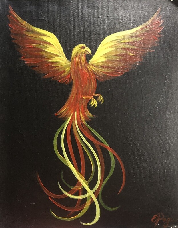 Kit de Pintura: Rising Phoenix (Canvas Grande 16x20)