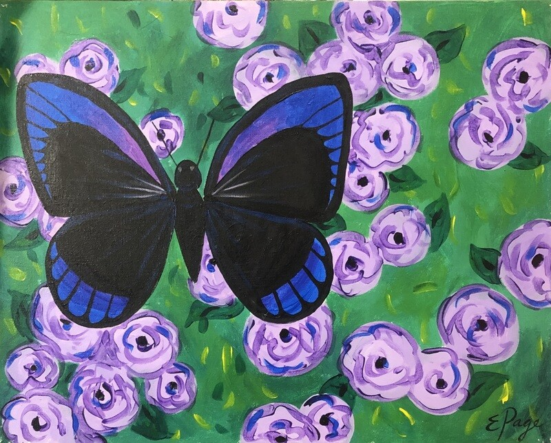 Kit de Pintura: Butterfly on Flowers (Canvas Grande 16x20)