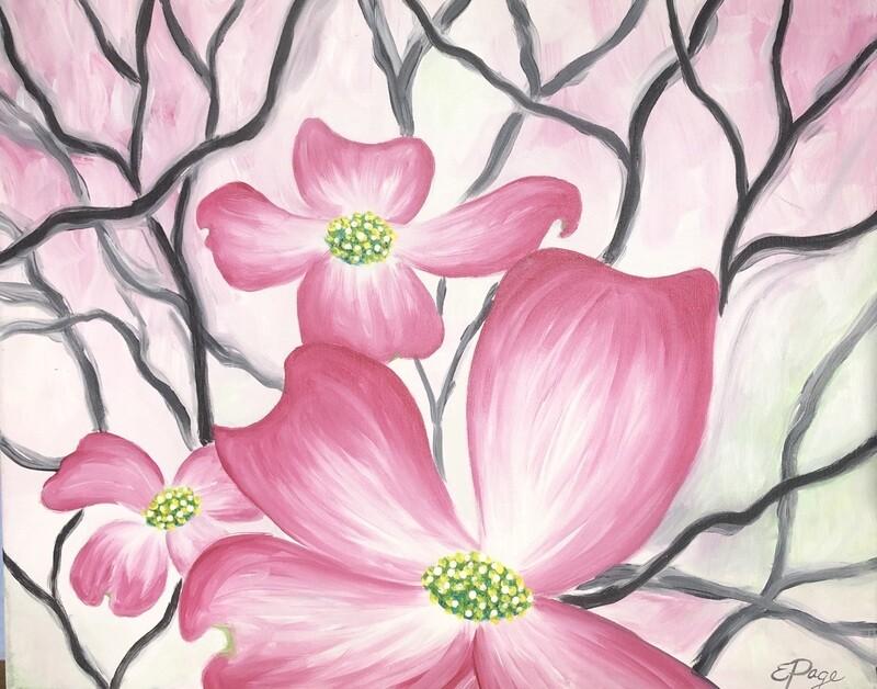 Kit de Pintura: Pink Dogwoods (Canvas Grande 16x20)