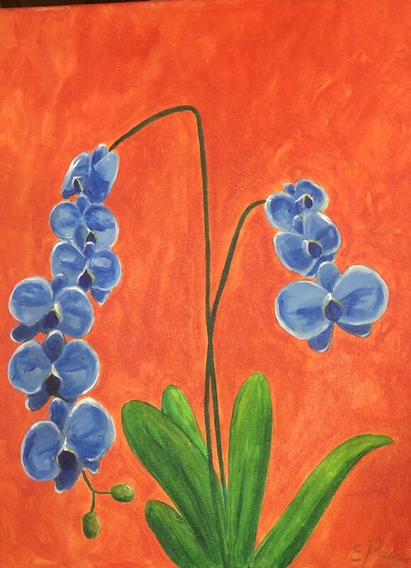Kit de Pintura: Blue Orchids (Canvas Grande 16x20)