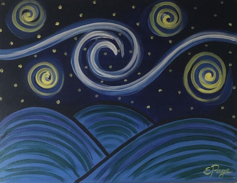 Kit de Pintura: Starry Night Hills (Canvas Grande 16x20)