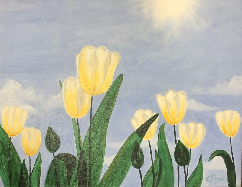 Kit de Pintura: Yellow Tulips (Canvas Grande 16x20)