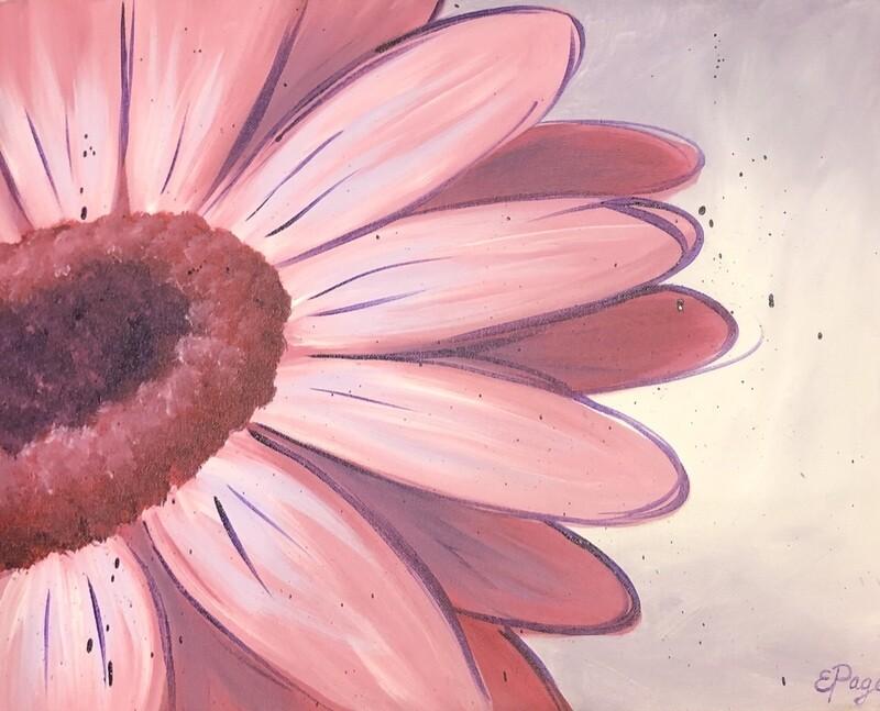 Kit de Pintura: Pink Daisy (Canvas Grande 16x20)