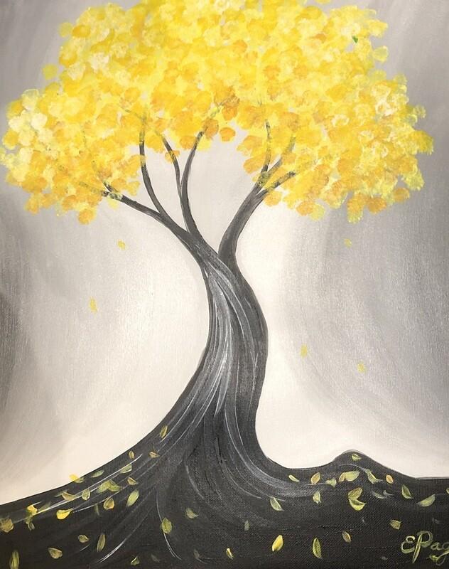 Kit de Pintura: The Golden Blossom (Canvas Grande 16x20)
