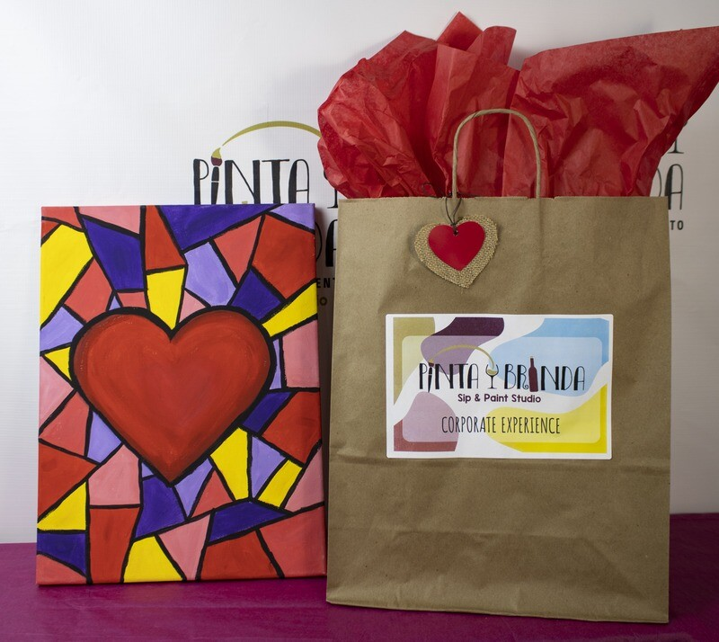 Valentine's Kit de Pintura: Heart Mosaic (Canvas Mediano 12x16)