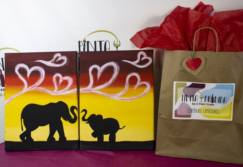 Valentine's Kit de Pintura Doble: Elephants Parent and Me (Canvas Mediano 12x16)