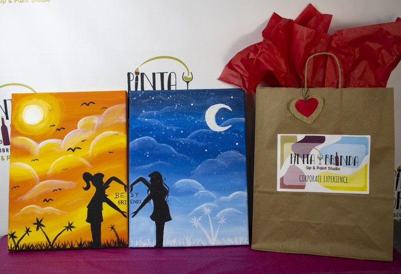 Valentine's Kit de Pintura Doble: Best Friends (Canvas Mediano 12x16)