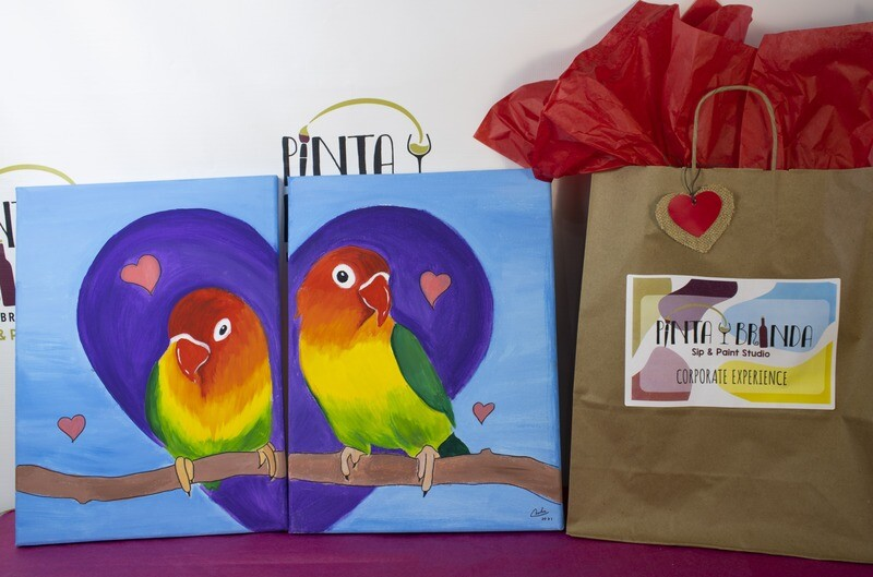 Valentine's Kit de Pintura Doble: Love Birds (Canvas Mediano 12x16)