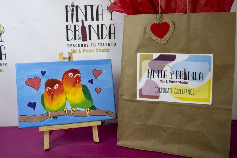Valentine's Kit de Pintura: Lovebirds Single(Canvas Pequeño 8x12)