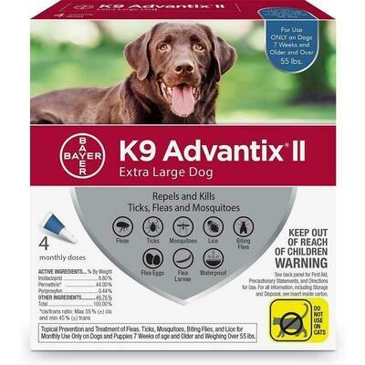 K9 ADVANTIX II 4/PK Blue 55LBS UP