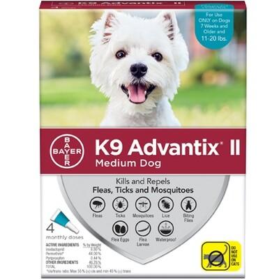 K9 ADVANTIX II 4/PK Teal 11-20 LBS