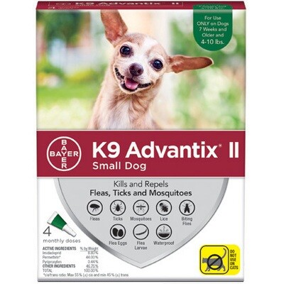 K9 ADVANTIX II 4/PK Green 4-10LBS