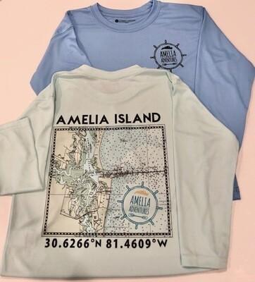 Kids Amelia Island Lat/Long UPF 50 Solar Shirt