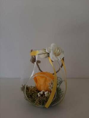 Rosa stabilizzata gialla in vetro