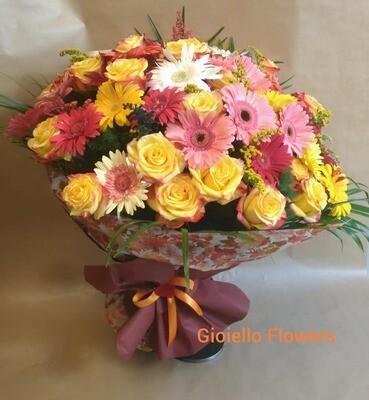 Bouquet di rose e gerbere Lusso