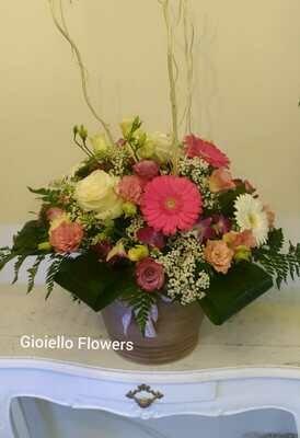 Composizione fiori misti in vaso