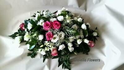 Centrotavola elegante lisiantus e rose 40 cm
