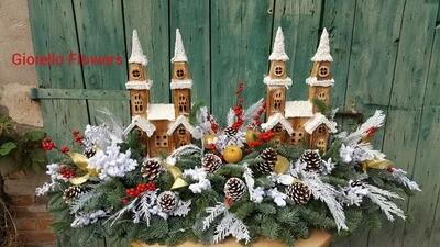 Composizione con paesaggio natalizio