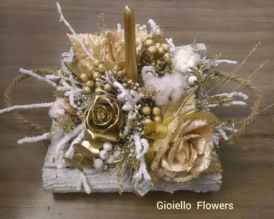 Centrotavola base legno e fiori in seta