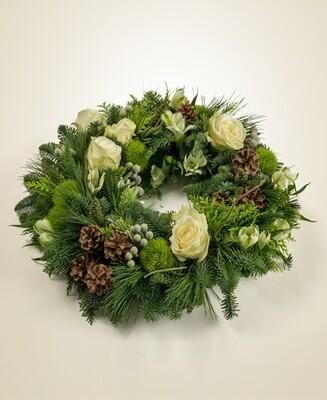 Coroncina con fiori veri 45 cm
