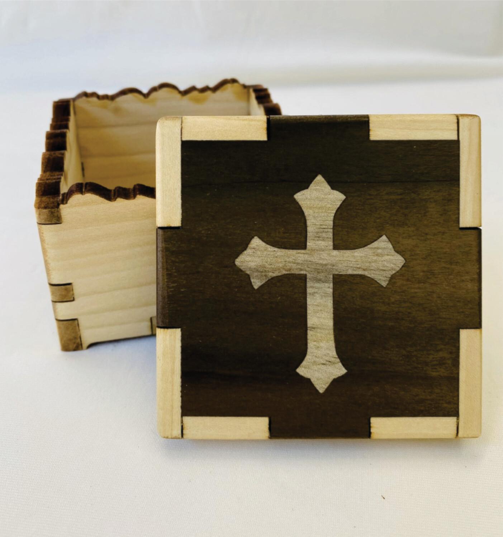 Cross In-lay Treasure Box